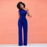 One Shoulder Tunic Belted Jumpsuits