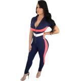 Stripe Size Sporty Jumpsuit
