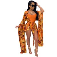 Orange Printed One-Piece Swimwear & Cover Up