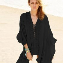 Light Mint Crochet Applique Tassel Tie Beach Kaftan