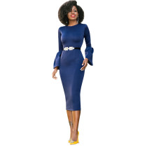 Navy Dress With Frill Sleeves