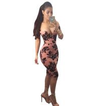 Printed V Bandeau Strapless Bodycon Dress