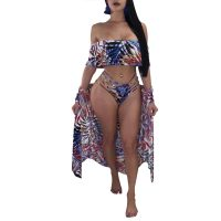 Printing Falbala Decorative Swimsuit + Cloak