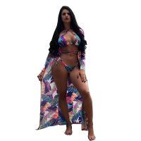 Thong Halter Neck Long Floral Print Beachwear
