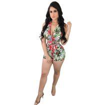 Floral Printed Halter Bundle Backless Jumpsuit With Belt
