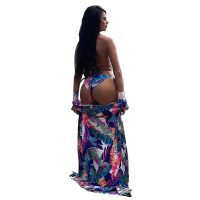 Thong Halter Neck Long Floral Print Beachwear