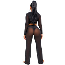 Cover Up High Waist Bottoms & Hooded Top