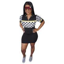 Plaid Short Sleeve Slim Dress With Turndown Collar