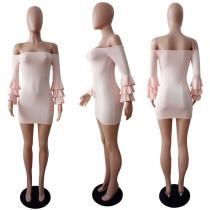 Off The Shoulder Flared Sleeve Mini Cocktail Dress