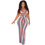 Colorful Stripped Front Cut Out Bandage Jumpsuit