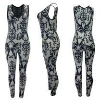 V Neck Sleeveless Print Jumpsuits