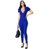 High Collar Zipped Up Jumpsuit With Contrast Trim
