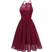 Lace Upper Halter Midi Skater Dresses