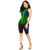 On The Throttle Colorblock Romper - Black/Green