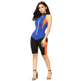 On The Throttle Colorblock Romper - Black/Royal