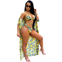 Chic Lace-up Lemon Printed Polyester Two-piece Swimwears(With Cover-Ups)