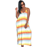 "The ""Orange"" Color Block Maxi Dress"