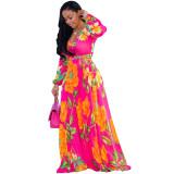 Long Sleeve Maxi Chiffon Wrap Dress