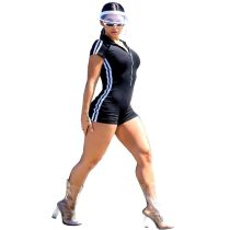 Zipper Slimming Shorts Jumpsuit