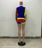 Stitching Long Sleeve T-shirt Shorts Two Sets