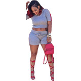 Ribbed Hooded Two-piece Shorts With Short Sleeve