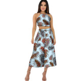 Sexy Women Lace Up Print Backless Top And Wide Leg Pants