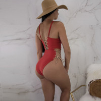 Chic Lace-up Red Polyester One-piece Swimwears
