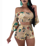 Off The Shoulder Flare Sleeves Printed Two Pieces Suit