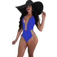 Chic Lace-up Blue Polyester One-piece Swimwears