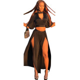 Halter Short Blouse And Side Split Skirt