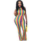 Rainbow Halter Jumpsuit