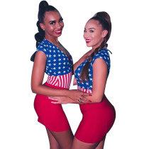 American flag Sleeveless V Neck Mini Dresses