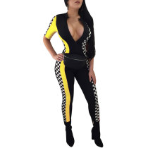 Racing Printing Striped Jumpsuits