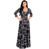 Black Casual A-Line Long Print Swing Dresses