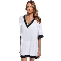 V-neck Black And White Splicing Beach Cover Dress
