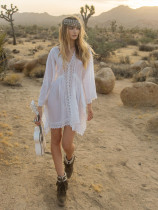 Tribe Temara White Lace Cotton Kaftan