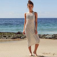Apricot Knit Vest Tank Beach Dress