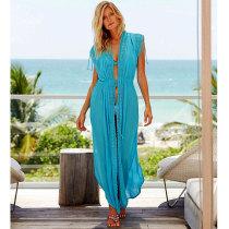 Turquoise Long Beach Cover Ups Kaftan