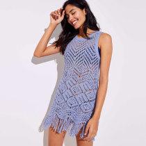 Beach Fringe Crochet Tunic Sweater
