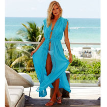 Turquoise Long Beach Cover Ups Kaftan