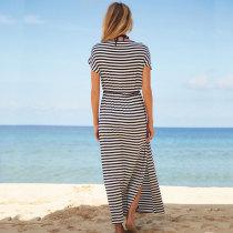 V Neck Striped Beach Dress