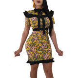 Yellow Floral Cascading Ruffle Bow Bohemian Dress