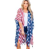 Loose American Flag Printed Kimono Cover Up