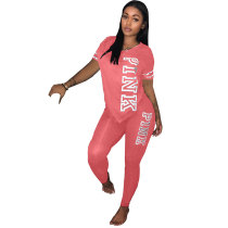 Pink  Offset Two Pieces Set