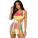 Sexy Striped Hollow-out Knitting Sheath Mini Dress