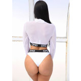 OMG ICON Long Sleeve Swimsuit (White)