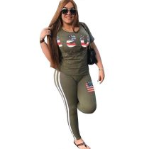 American Flag Print Green Sportive Top and Pants