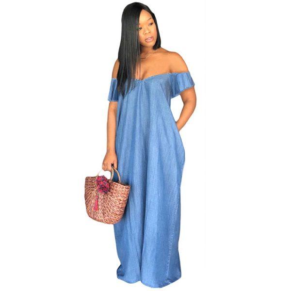 Oversized Off Shoulder Loose Denim Maxi Dress