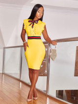 Fashion Round Neck Ruffle Design Knee Length Dress