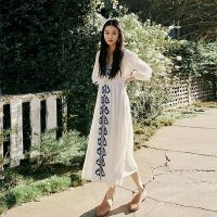 Embroidered Fable Canvas White Dress